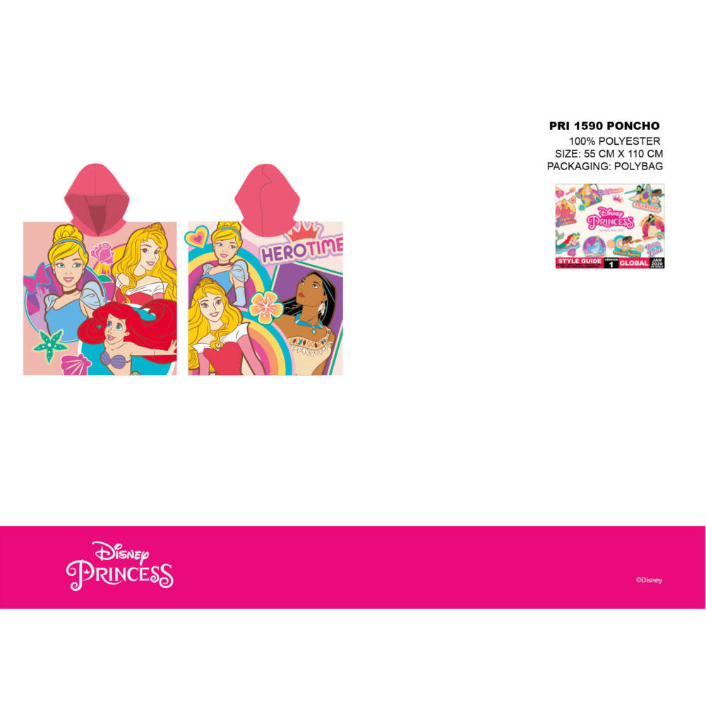 Disney Hercegnők gyerek poncsó - rózsaszín kapucnival - 55x110