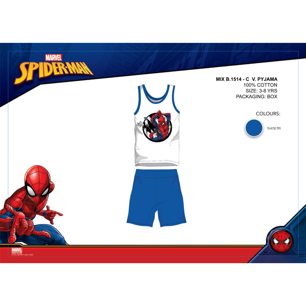 Pókember nyári ujjatlan gyerek pizsama - pamut pizsama - középkék - 98
