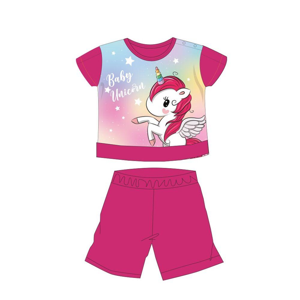 Unikornis nyári rövid ujjú baba pizsama - pamut jersey pizsama - pink - 80