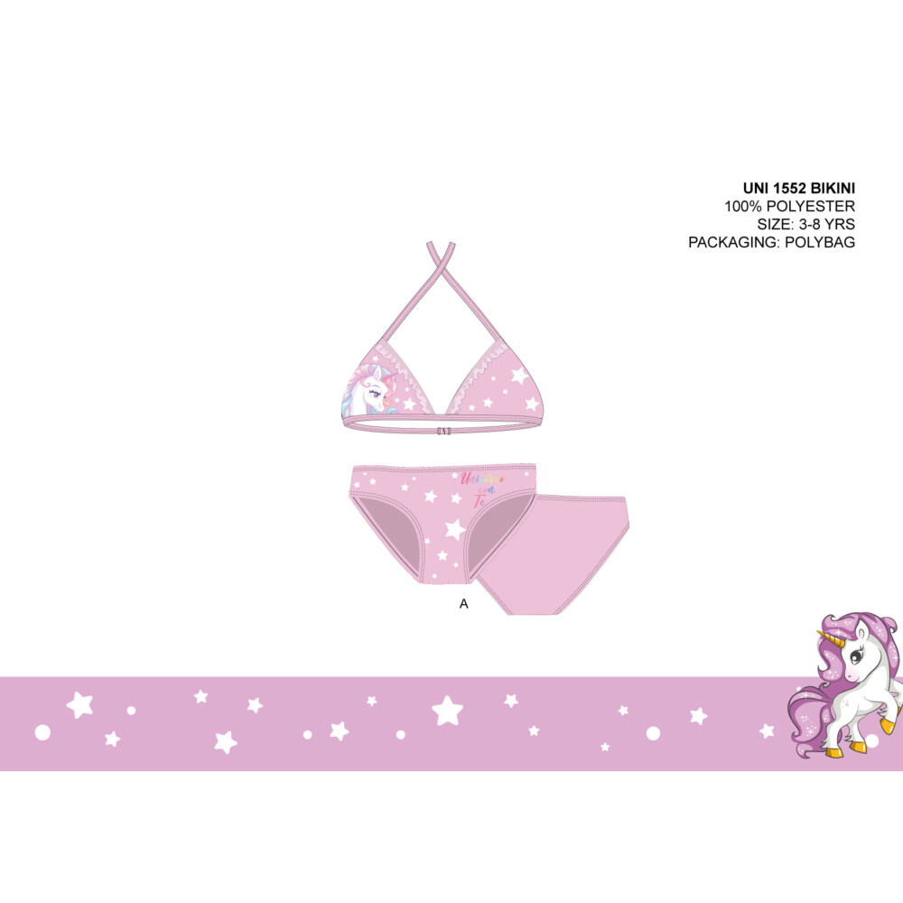 Unikornis kétrészes fürdőruha kislányoknak - bikini háromszög felsőrésszel - világosrózsaszín - 98