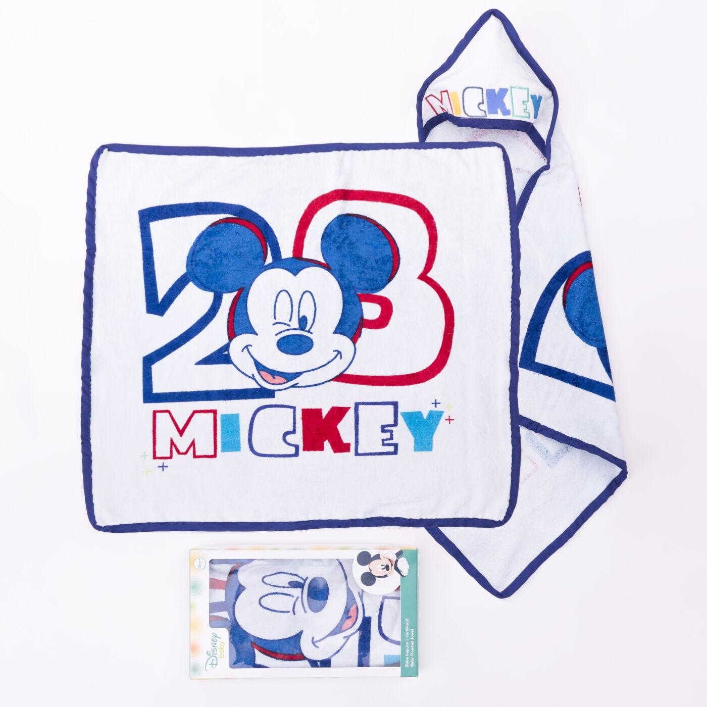 Mickey egér baba kapucnis törölköző - pamut babatörölköző – fehér-sötétkék
