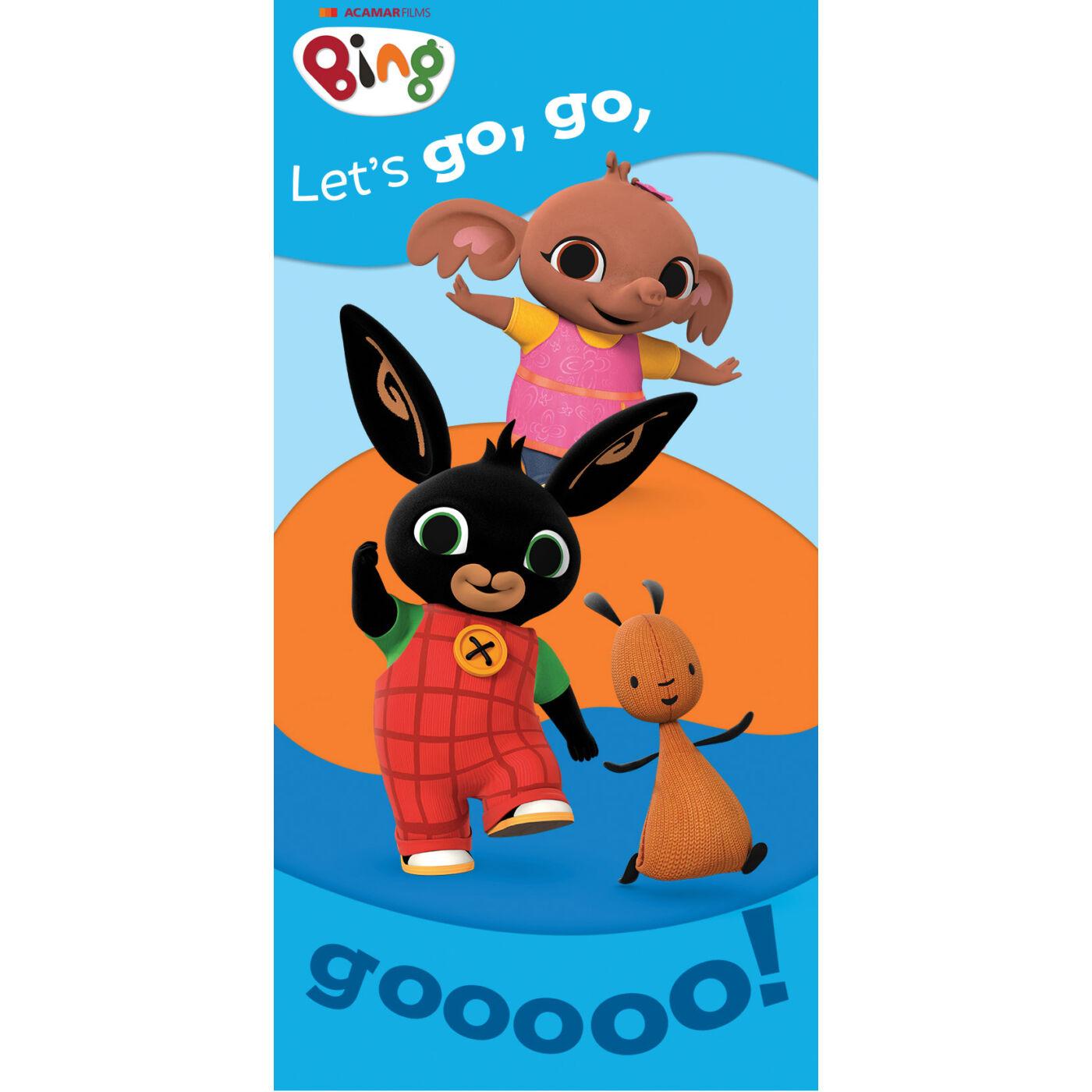 Bing nyuszi gyerek strandtörölköző - 67x137 - Let's go felirattal - kék