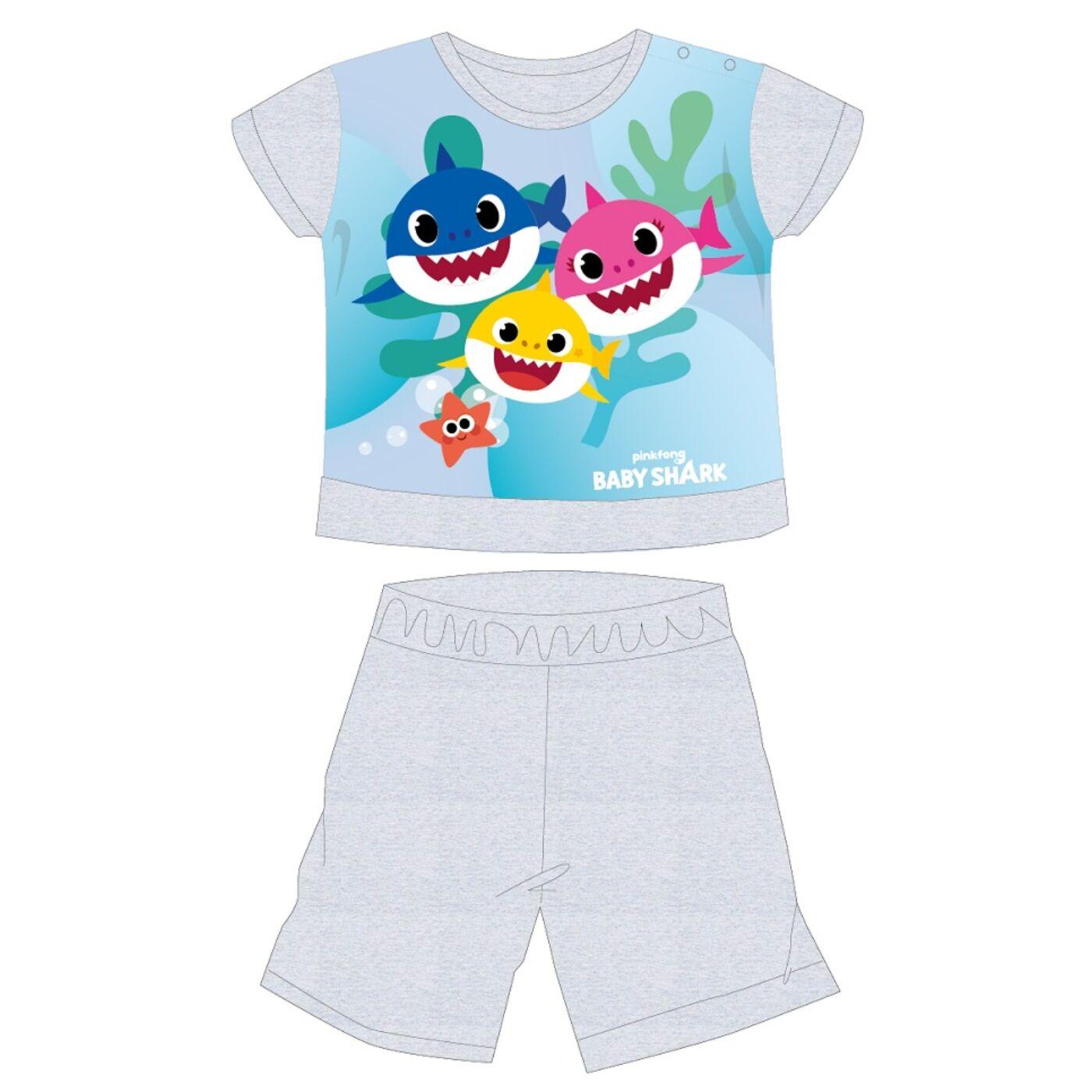Baby Shark nyári rövid ujjú baba pizsama - pamut jersey pizsama