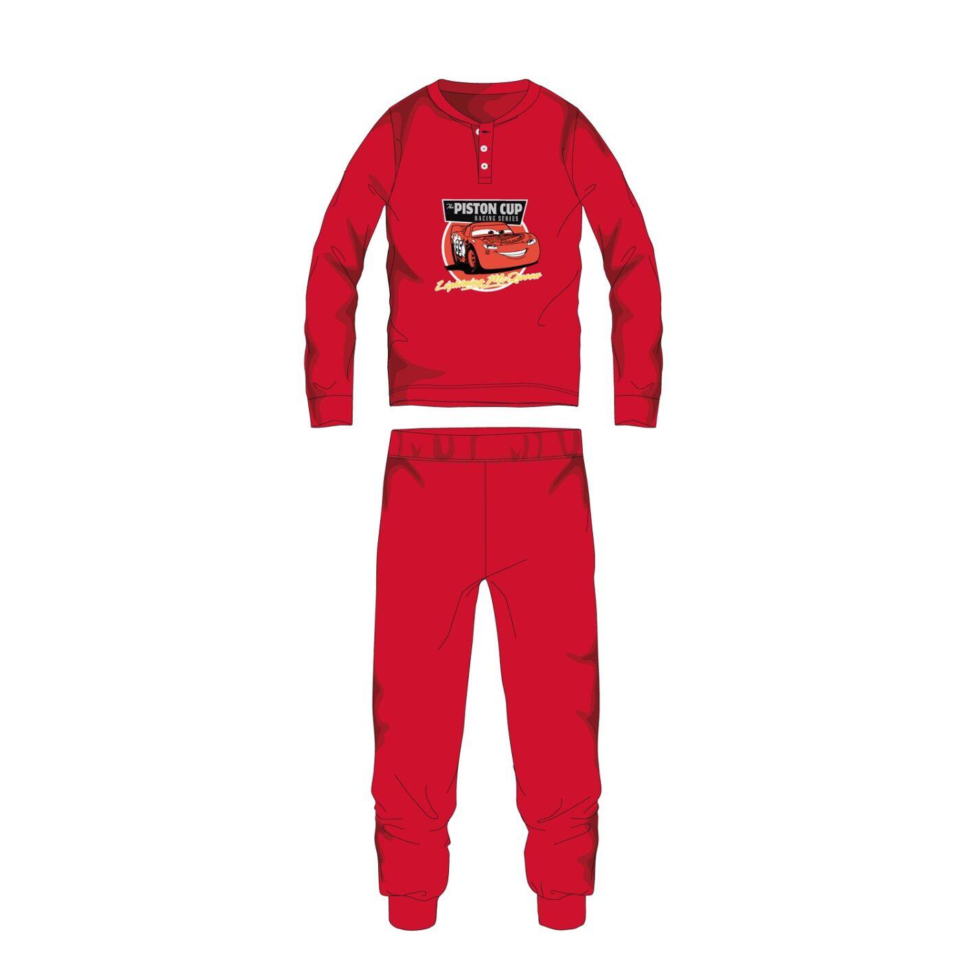 Disney Verdák téli pamut gyerek pizsama - interlock pizsama - piros - 104