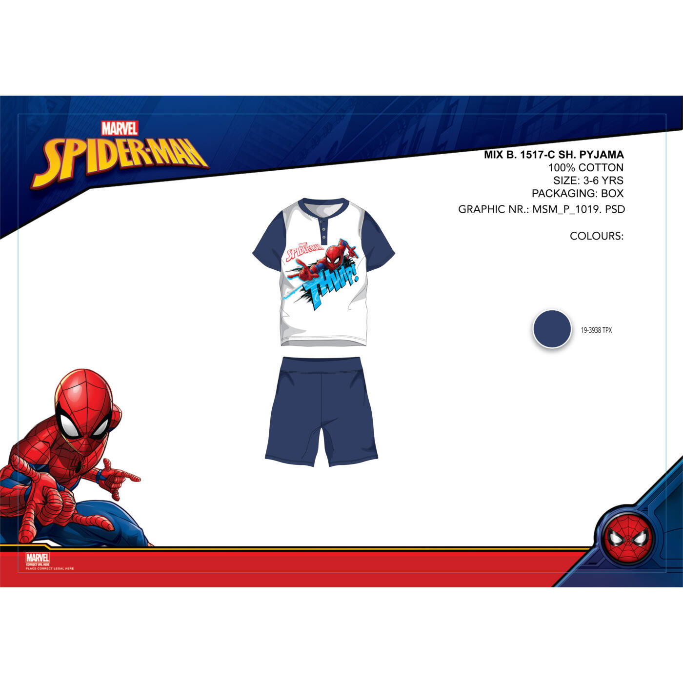 Pókember nyári rövid ujjú gyerek pizsama - pamut pizsama - sötétkék