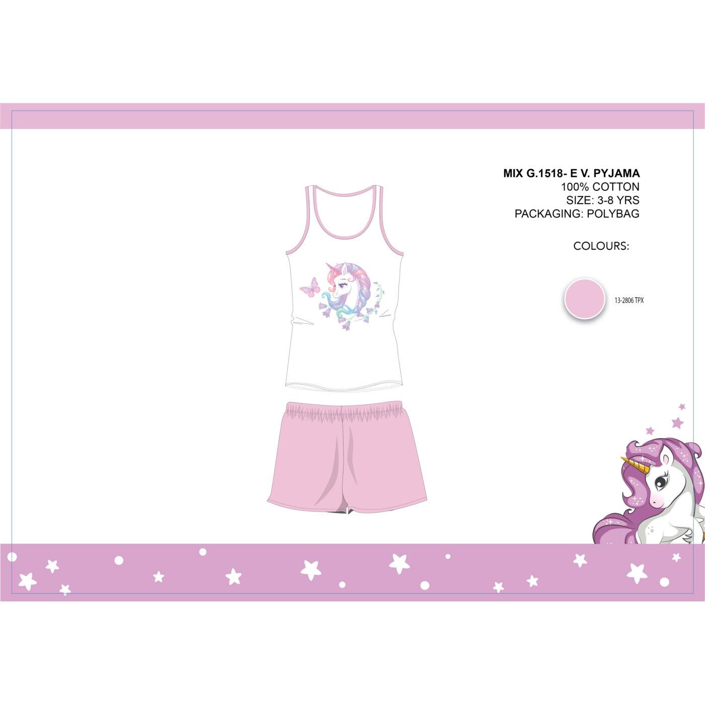 Unikornis nyári ujjatlan gyerek pizsama - pamut pizsama - világosrózsaszín